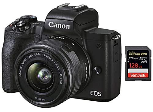 Canon M50 Mark II Mirrorless Camera + SanDisk 128GB Extreme Pro SDXC UHS-I Card - C10, U3, V30, 4K UHD, SD Card