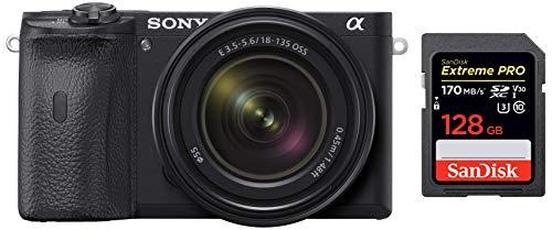 Sony Alpha ILCE 6600M 24.2 MP Mirrorless Digital SLR Camera with 18-135 mm Zoom Lens + SanDisk 128GB Extreme Pro SDXC UHS-I Card - C10, U3, V30, 4K UHD, SD Card